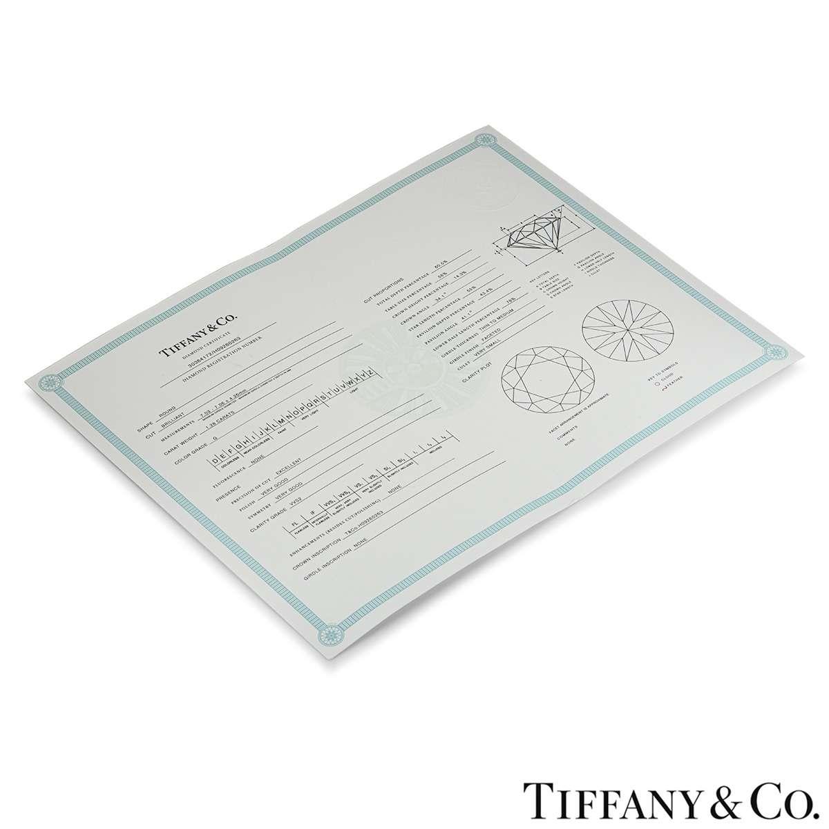 Tiffany & Co. Platinum Diamond Ring 1.28ct G/VVS2